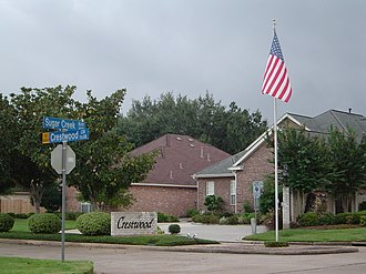 Subdivision (land) - The entrance to a subdivision in Sugar Land, Texas