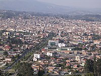 Panorama view of Cuenca, Ecuador, from Turi area