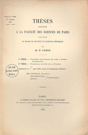 Pierre Curie - Propriétés magnétiques des corps à diverses temperatures  (Curie's dissertation, 1895)