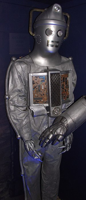 The Moonbase - The redesigned Cybermen, on display at a Doctor Who exhibition