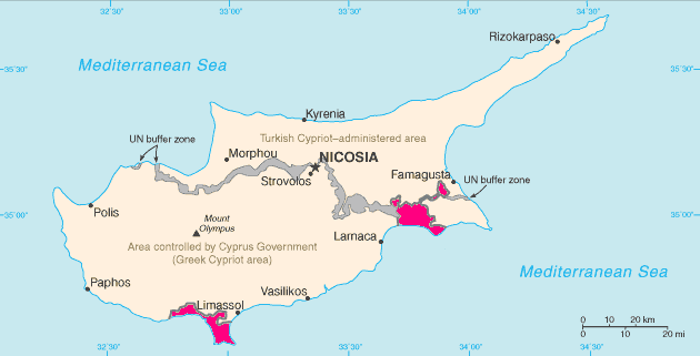 Location of Akrotiri and Dhekelia (pink) on Cyprus (pink, grey and beige)