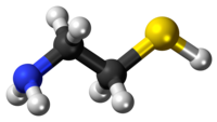 Ball-and-stick model of the cysteamine molecule