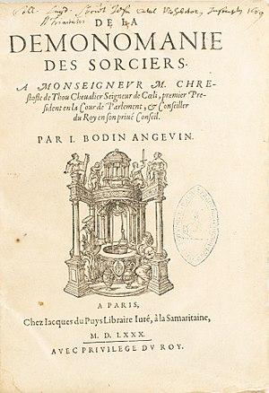 Jean Bodin - Title page of De la démonomanie des sorciers (1580)