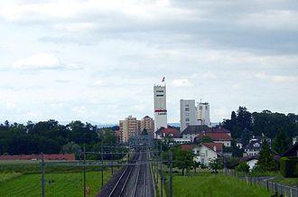 Düdingen - Grain silo and rail road in Düdingen