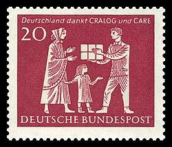 """Tem thư của Bưu điện Cộng hòa Liên bang Đức (1963): """"Nước Đức cảm ơn CRALOG và CARE"""""""