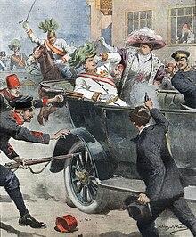 L'attentato di Sarajevo in un'illustrazione di Achille Beltrame