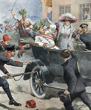 1914 in Italy - Illustration of the assassination of Archduke Franz Ferdinand of Austria in La Domenica del Corriere, 12 July 1914 by Achille Beltrame.