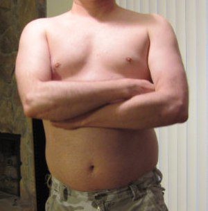 """Dad bod - An example of the """"dad bod"""" body type."""