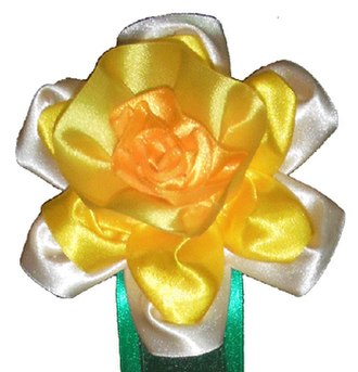 Ribbon (award) - Daffodil Flower Rosettes suitable for many occasions as a gift or an award