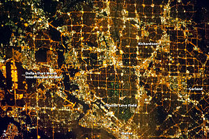 Dallas–Fort Worth metroplex - Northern Dallas metropolitan area at night – astronaut photo, courtesy NASA (November 15, 2012)