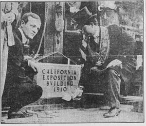Exposition Park (Los Angeles) - Dana R. Weller and Paul Engstrom laying cornerstone in 1910 (Los Angeles Herald)