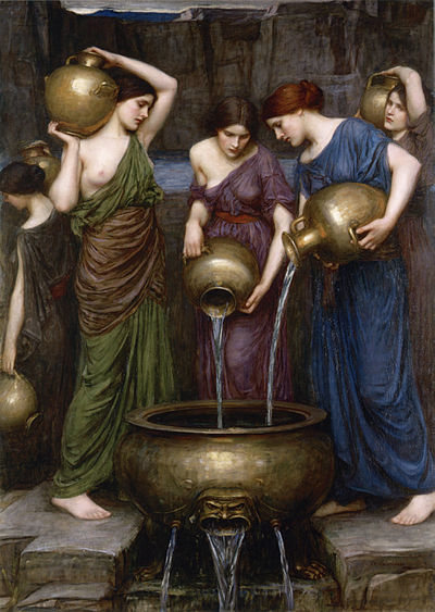 the mythological story of the daughters of danaus Danaid definition, the 50 daughters of danaus, 49 of whom were condemned to pour water forever into a leaky vessel for having murdered their husbands see more.