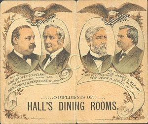 United States presidential election, 1884 - Dance card cover depicting the candidates