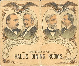 1884 United States presidential election - Dance card cover depicting the candidates