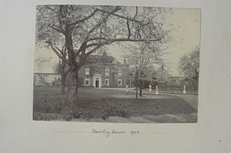 Harlington, London - Dawley House, Harlington, c. 1902. This was the remains of the house of Bolingbroke and Ossulston. It can be seen to the east or right of the mansion in the print.