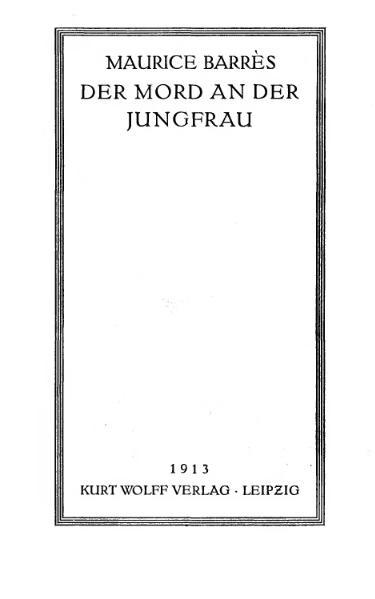 File:De Der Mord an der Jungfrau Barres Maurice.djvu