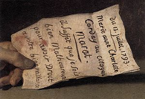 "The Death of Marat - Detail of The Death of Marat showing the paper held in Marat's left hand. The letter reads (in French) ""Il suffit que je sois bien malheureuse pour avoir droit a votre bienveillance"" or in English, ""Given that I am unhappy, I have a right to your help"""