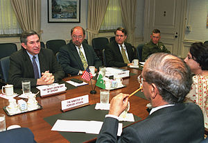Abdul Sattar (diplomat) - Abdul Sattar (left foreground) discussing with Deputy Secretary of Defense Paul Wolfowitz, 2001.