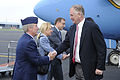 Defense.gov News Photo 110615-D-TX536-001 - U.S. Embassy Defense Attache Air Force Col. Walter Scales greets Deputy Secretary of Defense William J. Lynn III after his arrival in Prague Czech.jpg