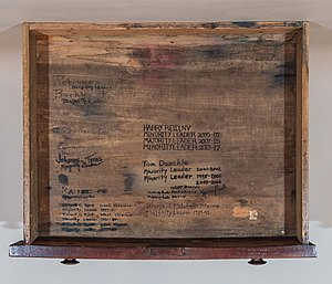 Robert Byrd - Drawer of the Senate desk used by Democratic leaders, including Byrd