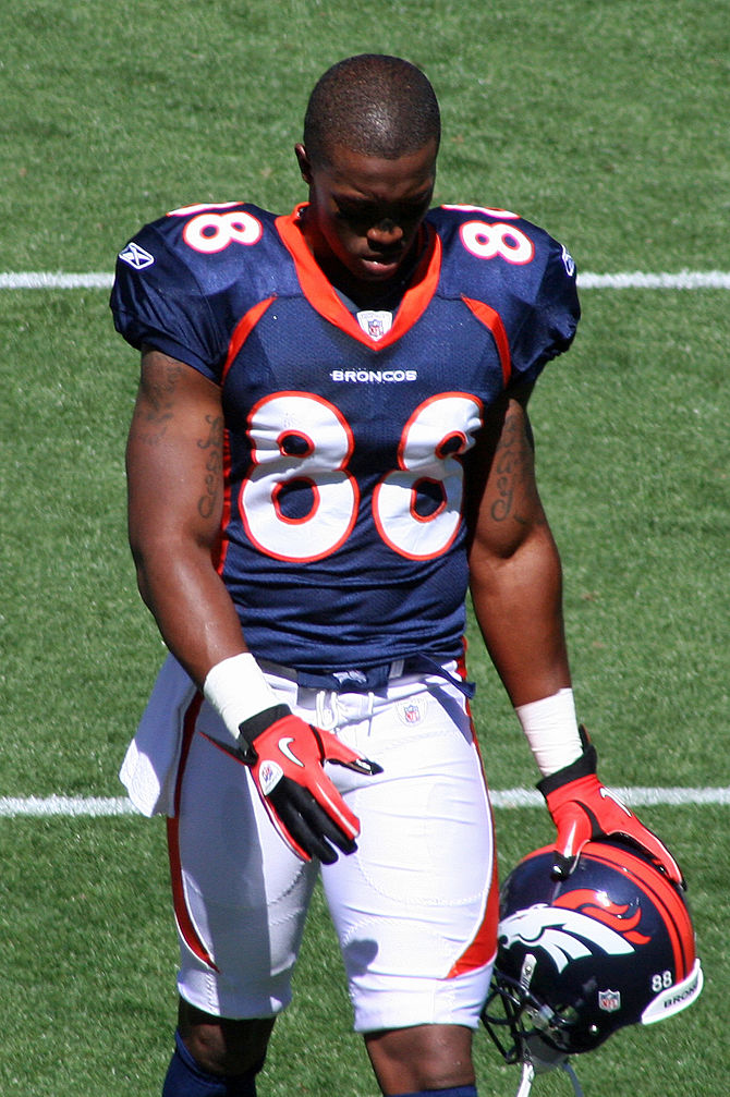 English: Demaryius Thomas, a player on the Den...