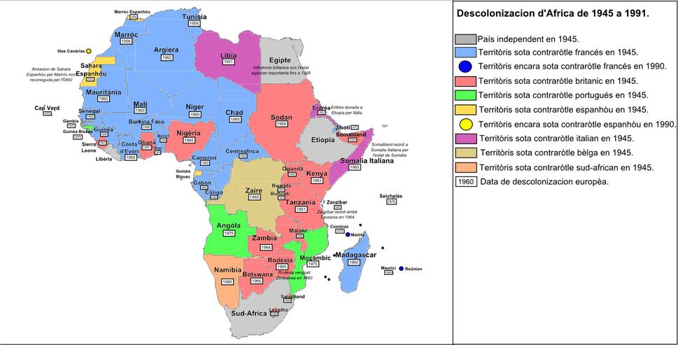 Descolonizacion d'Africa (1945-1991)
