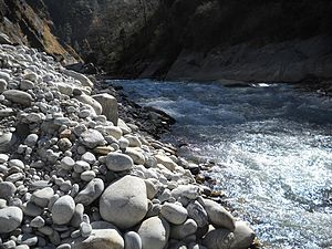 Dhauliganga River - The Dhauliganga river tumbling in to meet the Alaknanda River at Vishnuprayag in the Garhwal Himalayas.