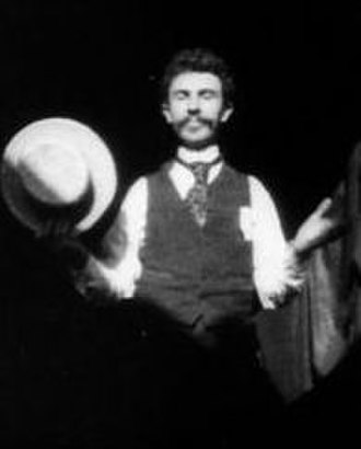 William Kennedy Dickson - Frame from the 1891 Dickson Greeting, featuring William Kennedy Dickson, in the first American film shown to a public audience.