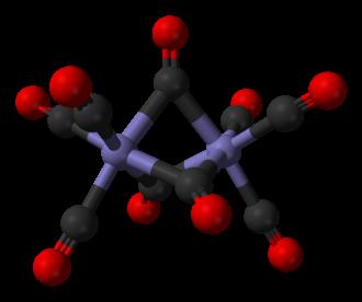 Diiron nonacarbonyl - Image: Diiron nonacarbonyl from xtal 1974 3D balls