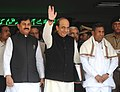Dinesh Trivedi leaving Rail Bhawan for Parliament House to present the Railway Budget 2012-13, in New Delhi. The Ministers of State for Railways, Shri Bharatsinh Solanki and Shri K.H. Muniyappa are also seen.jpg