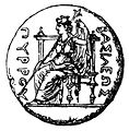 Dione on throne - Roscher 1,1 p. 1029.jpg