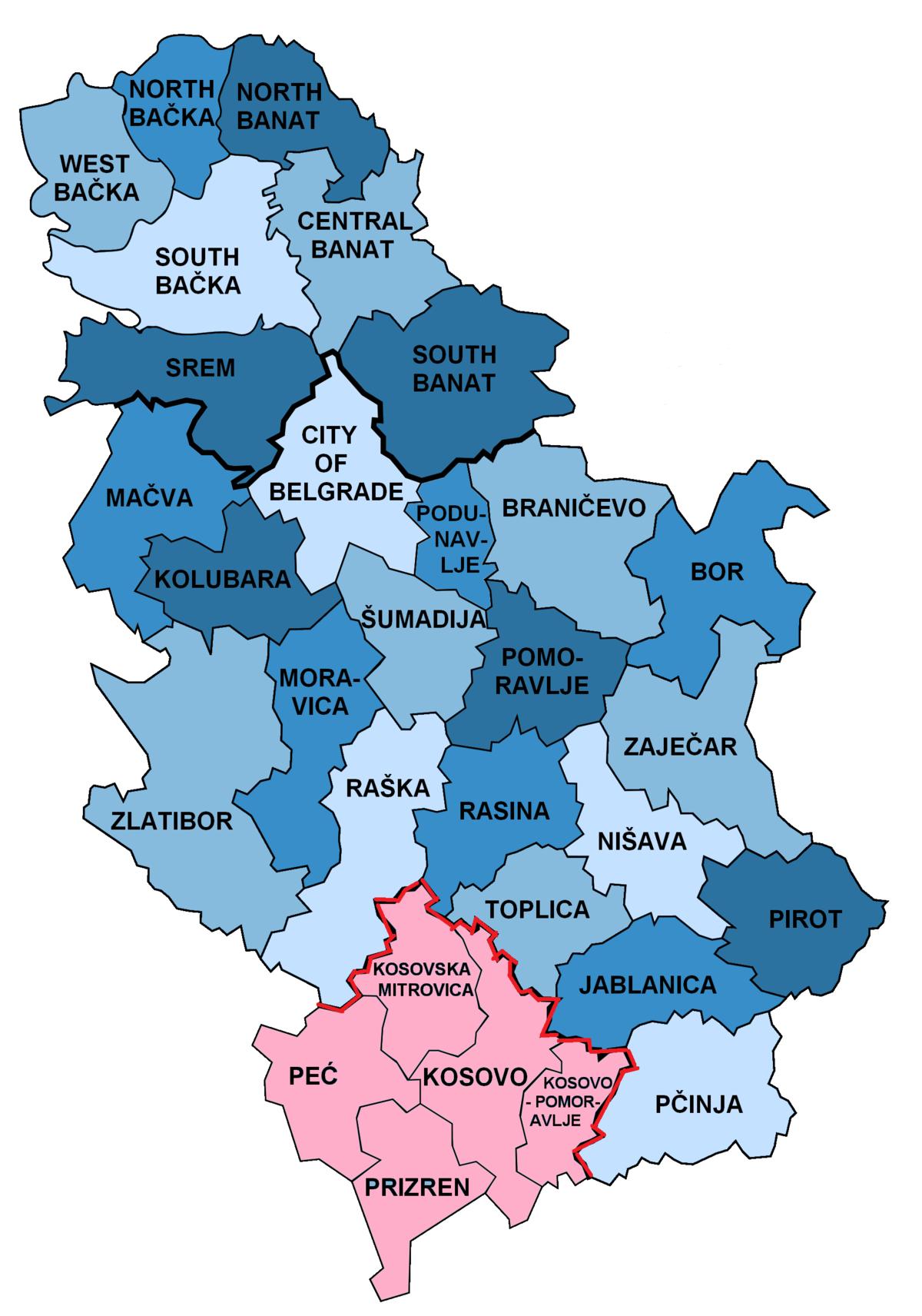 kosovska 28 beograd mapa Districts of Serbia   Wikipedia kosovska 28 beograd mapa