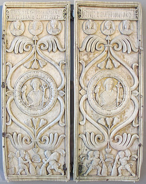 Justin (consul 540) - The ivory consular diptych of Justin, Bode Museum.