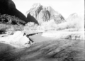 Diversionary channel to divert Virgin River away from steep cut bank where willow spiders are placed. ; ZION Museum and Archives (c2419527a62b48469ae72ba47eb93873).tif