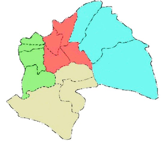 Afak district in light blue