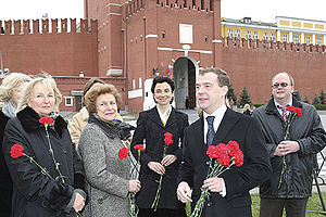 Unity Day (Russia) - President Dmitry Medvedev offering flowers to the Monument to Minin and Pozharsky in Red Square in 2008