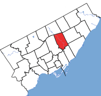 Don Valley East (provincial electoral district) - Don Valley East in relation to other Toronto electoral districts