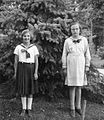 Double portrait, girls, garden, pine forest Fortepan 26068.jpg