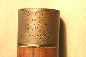 John Peacock (piper) - The engraved drone-ferrule on Peacock's pipes.