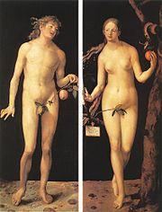 Adam and EveA classic depiction of the biblical tale showcasing the apple as a symbol of sin.Albrecht Dürer, 1507; Oil on panel; 209 x 81 cm (per panel); Museo Nacional del Prado, Madrid.[1].