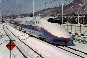 E2 Series Shinkansen - 8-car J set in original livery on an Asama service in February 1998