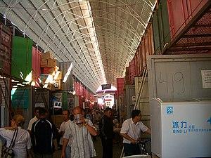 Shipping container architecture - Brisk trade in Bishkek's Dordoy Bazaar.