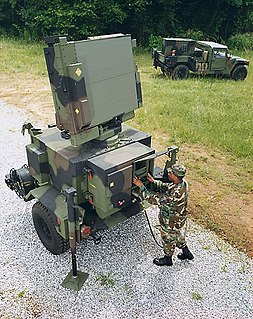 AN/MPQ-64 Sentinel 3D radar used to alert and queue Short Range Air Defense (SHORAD) weapons to the locations of hostile targets