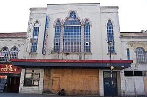 Mirth, Marvel and Maud - The building, boarded up, during the period of closure.
