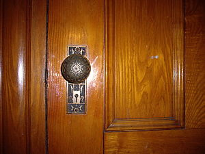 English: An Eastlake Style Door Handle in Laco...