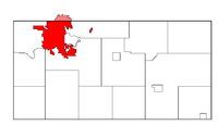 Location within Eau Claire Coonty (pink-shadit portion is within Chippewa Coonty).