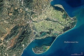 Ebro Delta - The Ebro River delta at the Mediterranean Sea from space