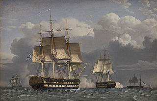 Two Russian Ships of the Line Saluting