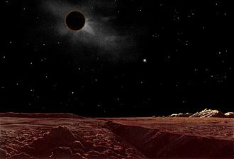 Extraterrestrial skies - An artist's conception of a solar eclipse from the moon, during a lunar eclipse as viewed from the earth