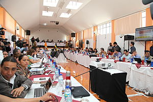 Cabinet of Ecuador - A travelling session of the Ecuadorian Cabinet in Cayambe, Ecuador, on 1 June 2012.
